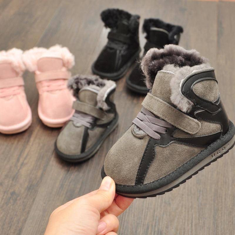 冬季款宝宝雪地靴皮毛一体棉靴1-3岁 男女童真皮小童棉鞋加厚保暖   【新款上新,支持七天退换货,欢迎购买】