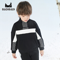 【双十二3件2折:50】巴拉巴拉旗下 巴帝巴帝潮流童装2018冬新款男童字母加绒卫衣