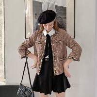 MG小象格子外套女2019新款秋季时尚短款休闲复古宽松显瘦气质上衣