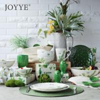 可爱小清新陶瓷餐具套装简约餐具盘碗仙人掌家用釉下彩瓷器餐具