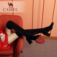 camel骆驼冬季新款 粗跟高挑舒适复古瘦瘦靴 防滑圆头过膝长筒靴女