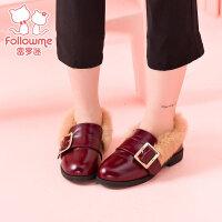 富罗迷冬季儿童鞋子女童棉鞋小皮鞋公主鞋学生毛毛鞋加绒真皮单鞋