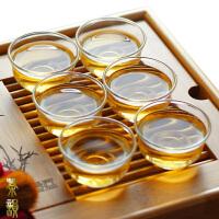 6只装小茶碗40ML品茗杯耐热玻璃杯玉兰杯 功夫茶杯功夫茶具玻璃茶杯主人杯耳杯茶碗家用