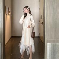 MG小象毛衣套装裙两件套2019新款女秋冬高领开叉针织衫网纱半身裙