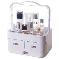 网多层手化妆盒大号化妆箱韩国化妆品便携桌面整理收纳盒 带盖款