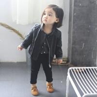 男童女童秋款皮衣外套2017新款童装皮夹克中小童宝宝PU皮上衣服 黑色