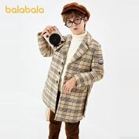 【3件4折:235.6】巴拉巴拉男童�L衣冬�b2020新款童�b�r尚�和�外套中�L款格子呢大衣