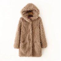 女装秋冬加厚保暖宽松连帽中长款毛毛外套女欧美大衣潮