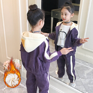 童装2018冬季新款女童加绒加厚灯芯绒套装儿童上衣+长裤两件套