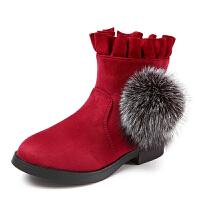 女童短靴2017新款秋季毛毛球马丁靴花边雪地靴学生加绒靴子 酒红色 34码内长20.8cm