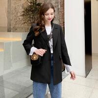 毛菇小象黑色chic小西装外套女2019新款韩版早秋时尚拼接西服上衣