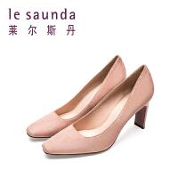 【全场3折】莱尔斯丹 春季新款通勤方头高跟女鞋女单鞋9T80101