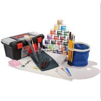 马利牌1100水粉颜料10件套装 水粉颜料+工具箱+画笔+调色盒