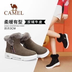 骆驼女鞋 2018冬季新款 平跟防滑保暖棉鞋加厚短筒靴子雪地靴女靴