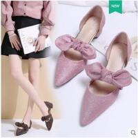 仙女单鞋低跟粗跟豆豆鞋女蝴蝶结尖头浅口平底鞋粉色温柔