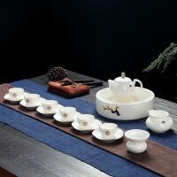【家装节 夏季狂欢】景德镇功夫茶具套装家用简约羊脂玉白瓷茶盘小茶杯陶瓷盖碗泡茶壶