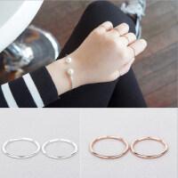 韩版时尚925银镀白金简约光面戒指女食指尾戒关节首饰品