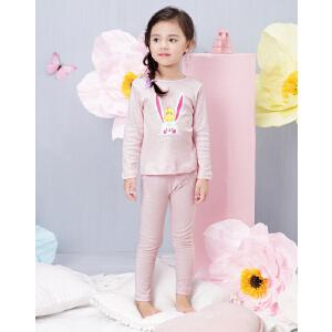 欧莎童装女童秋装2017新款休闲可爱兔子印花两件女宝宝套装