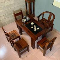 功夫茶几客厅小茶桌老船木茶桌椅新中式仿古户外阳台小茶桌功夫茶几客厅实木家具 整装