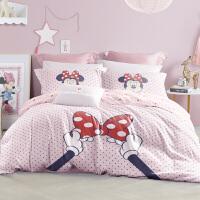 LOVO家纺 迪士尼 全棉四件套卡通学生套件纯棉床单被套 米妮与蝴蝶结