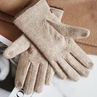 时尚羊毛手套女士秋冬天加绒加厚保暖毛口羊绒开车手套五指分指可触屏