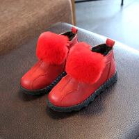 2017季新款女童靴子厚绒棉鞋时尚韩版雪地靴女宝宝拉链短靴 红色 26码鞋内长15.5CM