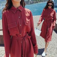 红色连衣裙女中长款2018秋季新款单排扣收腰气质显瘦百搭衬衫裙子