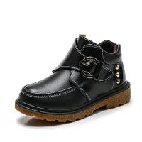 儿童棉鞋男童2017季新款保暖鞋中大童加绒加厚大棉鞋真皮短靴