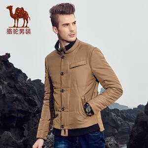 骆驼男装 冬款青年立领纯色休闲单排扣长袖外套棉衣男
