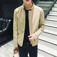 新款男士休闲外套韩版修身简单纯色立领夹克衫男外套