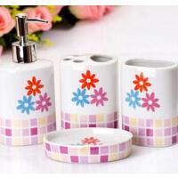 欧式陶瓷卫浴洗漱用品套装 浴室卫浴四件套粉色
