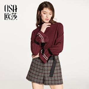欧莎2018春装新款时尚个性系带毛针织衫S118A16026