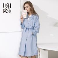 【1件7折,2件5折】OSA欧莎女装2017春女春季新品帅气简约长袖风衣S117A23005