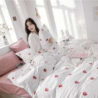 网红床上四件套纯全棉波点黑白床单被套床笠两件套装单人床三件套
