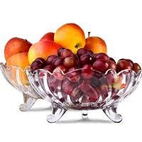 2只/1只装玻璃果盘水晶玻璃水果盘 现代创意客厅家用茶几篮 大号糖果干果沙拉盆