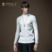 PINLI品立2020秋季新款男装长袖套头半高领针织衫毛衣B203310045