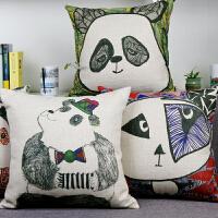 【包邮】 清仓特价 原创 油画绘画 厚实棉麻 文艺创新熊猫创意抱枕