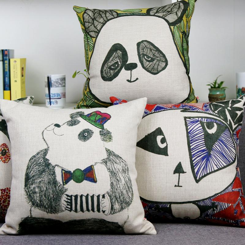 【包邮】 清仓特价 原创 油画绘画 厚实棉麻 文艺创新熊猫创意抱枕厚磅棉麻文艺创意绘画图案家居实用衍生品