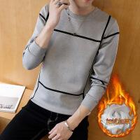 长袖T恤男士毛衣韩版修身加绒加厚秋冬季个性上衣青年潮流针织衫