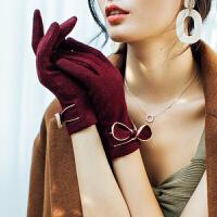 时尚羊毛手套女士加绒加厚韩版保暖蝴蝶结秋冬季学生手套触屏开车骑行