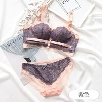 拼色蕾丝女士性感内衣套装女文胸聚拢无钢圈收副乳防下垂少女胸罩 紫色