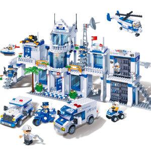【当当自营】邦宝益智积木儿童小颗粒男孩玩具生日礼物亲子城市新警察总署8353