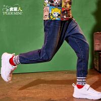 【2件3折到手价:89.7元】小虎宝儿男童牛仔裤2019春季新款童装宽松长裤中大童韩版哈伦裤子