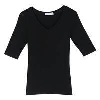 纯棉V领白色紧身中袖T恤女春季韩版修身显瘦五分袖女士打底衫上衣