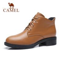 camel骆驼春秋季新款短靴真皮马丁靴系带休闲女鞋加绒保暖靴子女