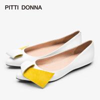 【顺丰包邮,大牌价:189】PITTI DONNA尖头拼色蝴蝶结低跟平底女鞋单鞋休闲 9M04802