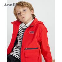【2件4折价:215.6】安奈儿童装男童工装外套春2021新款中大童加绒保暖上衣男孩棒球服