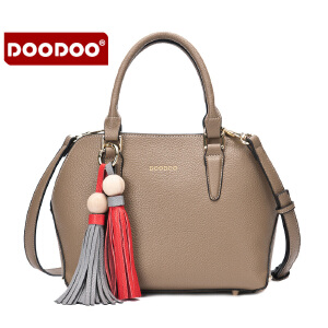 【支持礼品卡】DOODOO 包包2017新款流苏女士手提包通勤女包时尚简约单肩斜挎女式包 D6106