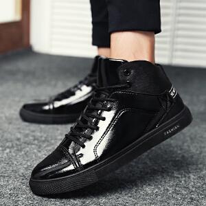 【酷炫潮流】罗兰船长 休闲鞋男英伦亮面高帮板鞋潮鞋子 亮黑 42D