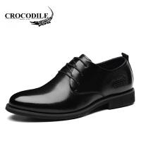 鳄鱼恤皮鞋系带商务正装鞋头层牛皮休闲皮鞋婚鞋舒适男鞋